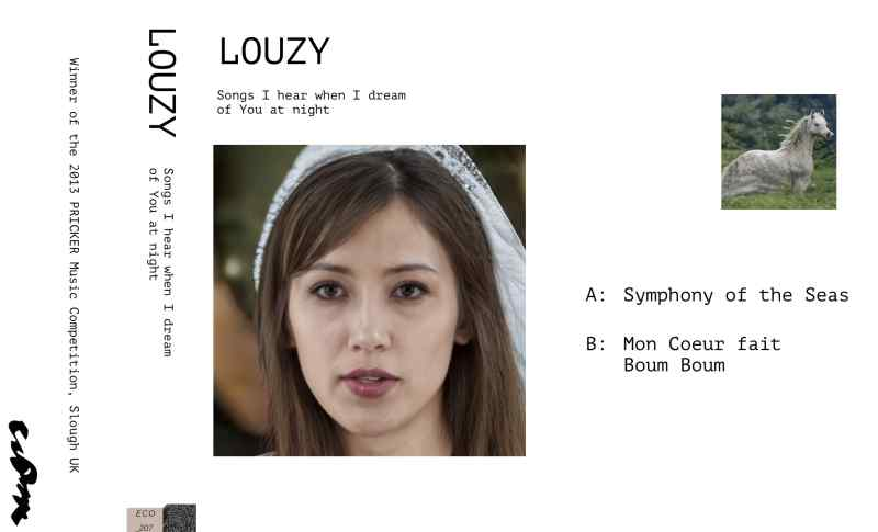 Tape inlay showing the tape's title on the left, an AI-generated face of a young woman in the middle, and the tracklist accompanied with an AI-generated white horse on the right.